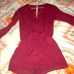 Dark red long sleeve jumper with gold